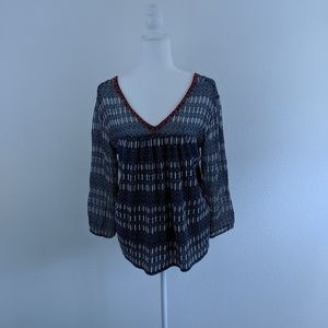 Lucky Brand Top Peasant - blue/white SZ M